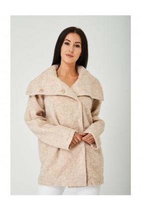 Ladies Beige High Neck Wool Coat