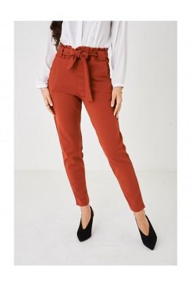 Ladies Wide Leg Orange Paperbag Trousers