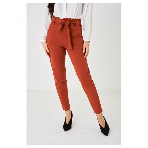 Ladies Wide Leg Orange Paperbag Trousers
