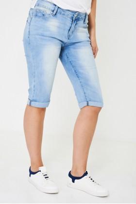 Blue Cropped Denim Jeans