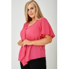 Ruffle Front Top in Pink