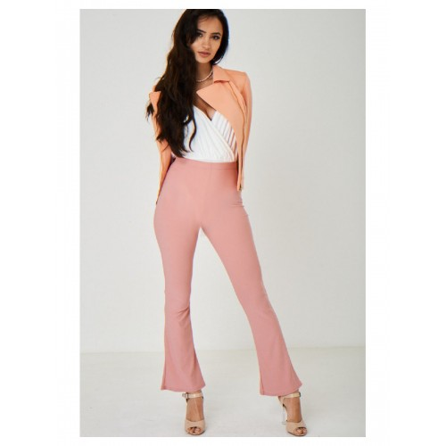 Bootcut Flare Pink Trousers High Rise Waist