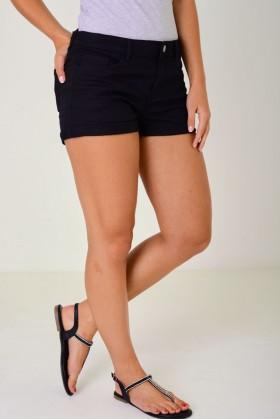 Black Denim Shorts with Roll Up Hem