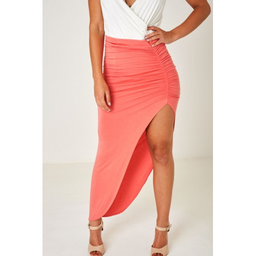 Pink High Slit Maxi Skirt with Ruched Front