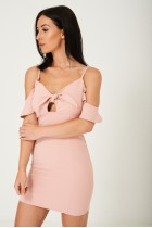 Off Shoulder Dress in Pink with Front Bow