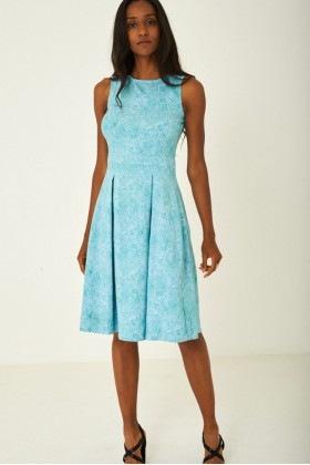 Green Paisley Skater Dress with Pleat Detail