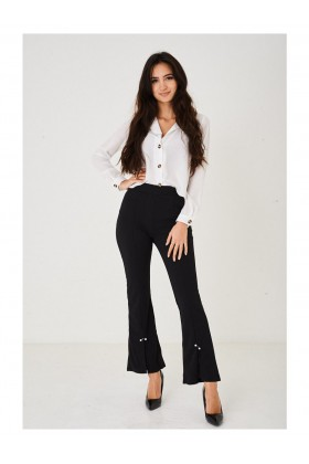 Ladies Cut out Boot Flare Black Trousers