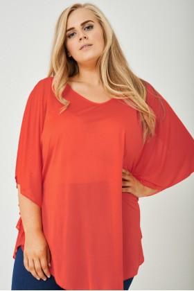 Plus Size Kimono Sleeve Top In Coral