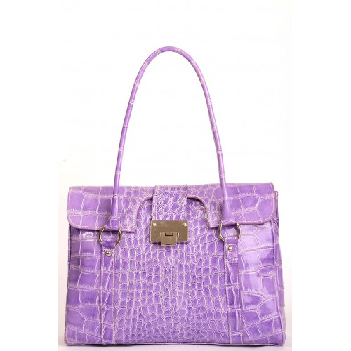 Purple Croc Patent Leather Flap Bag