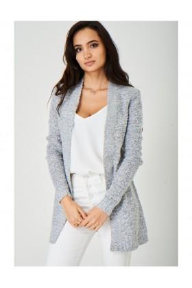 Soft Ladies Grey Cardigan in Mixed Yarn