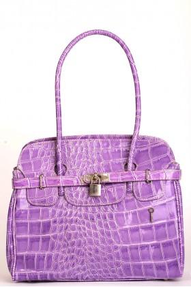Crocodile Pattern Leather Handbag in Purple