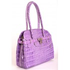 Crocodile Pattern Leather Handbag in Purple