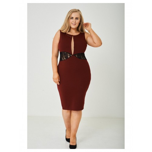PLUS SIZE Plunge Bodycon Dress in Black