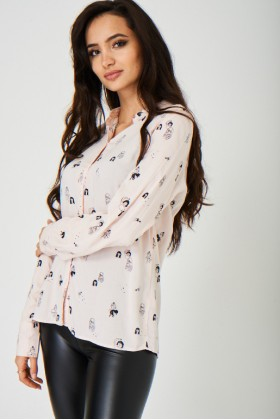Ladies Printed Pink Shirt
