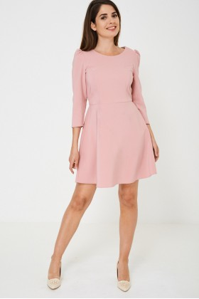 Long Sleeve Skater Dress in Pink