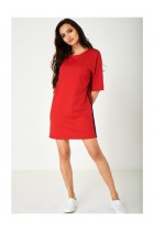 Red Dress with Side Stripes