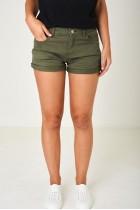 Denim Shorts in Khaki Green