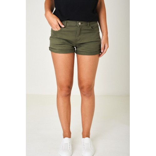 Denim Shorts in Khaki Green