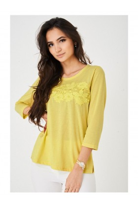 Ladies Lace Front Yellow Top Long Sleeve