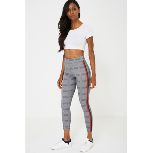 Dog Tooth Check Side Stripe Leggings