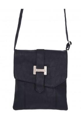 Faux Leather Black Messenger Bag
