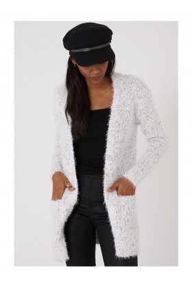 Fine Knit Fluffy Cardigan in White