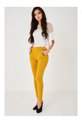 Ladies Yellow Skinny Leg Trousers
