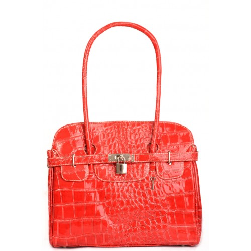 Croc Patent Leather Handbag in Red