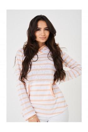 Ladies Hooded Jumper in Peach Stripes