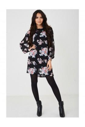 Black Chiffon Dress in Floral Print