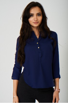 Blue Lightweight Blouse Top
