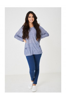 Women's Blue Oversize Knitted Top