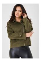 Women's Khaki Faux Fur Jacket