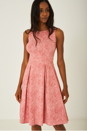 Pink Paisley Skater Dress with Pleat Detail