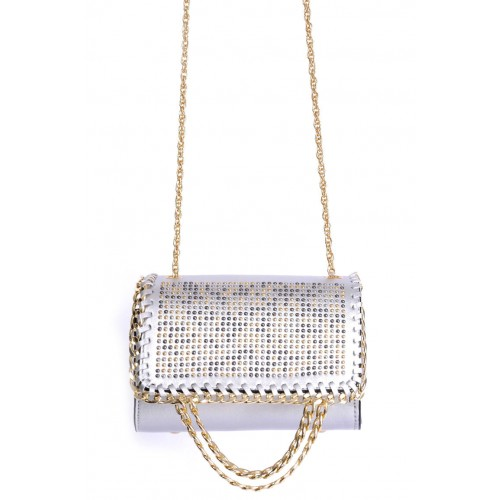 Embellished Silver Shoulder Bag