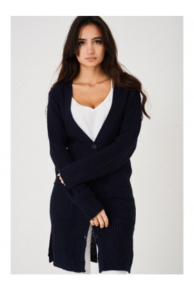 Ladies Navy Longline Cardigan