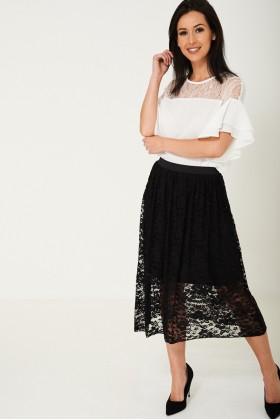 Lace Midi Skirt in Black