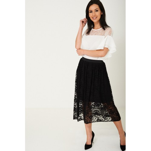 Lace Midi Skirt in Black