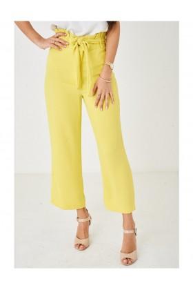Ladies Wide Leg Yellow Paperbag Trousers