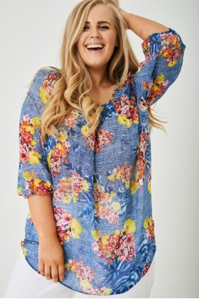 PLUS SIZE Chiffon Floral Top