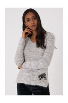 Fluffy Grey  Jumper with Embroidery Detail