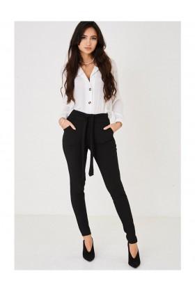 Ladies Tie Waist Black Trousers
