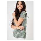 Ladies Green Crochet Detail Top in Stripes