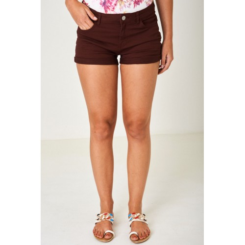 Denim Shorts in Burgundy