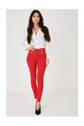 Ladies Lace Up Waist Red Skinny Trousers