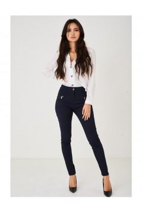 Ladies Navy Skinny Jeans with Zip Detail