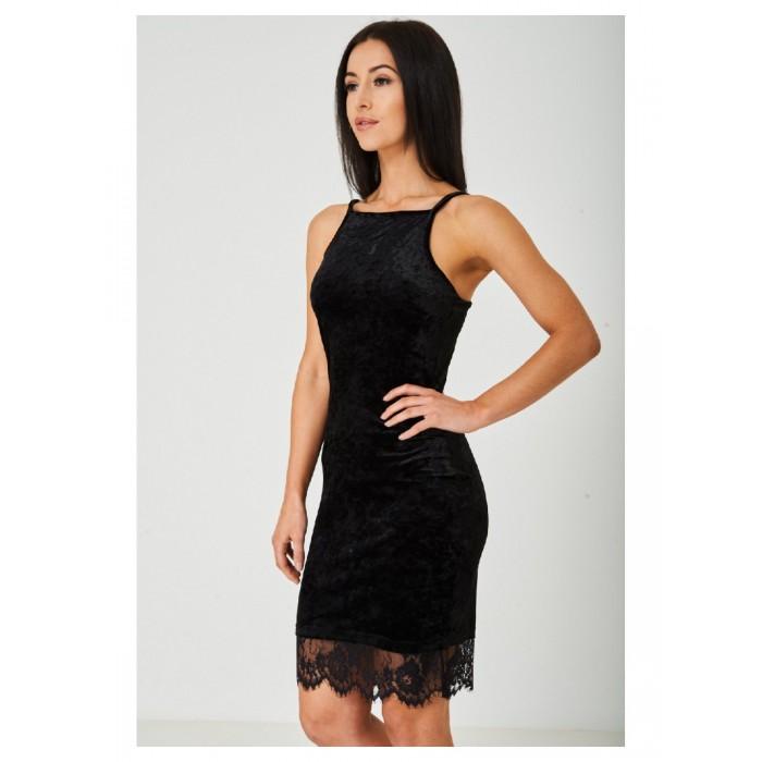 Black Crushed Velvet Dress