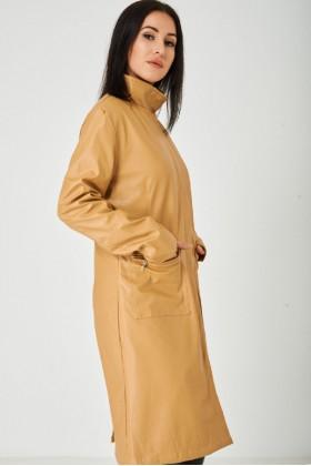 Long Faux Leather Coat in Light Camel