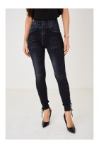 Ladies Embellished Black Leggings Denim Look