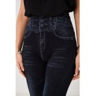 Ladies Embellished Black Leggings Denim Look